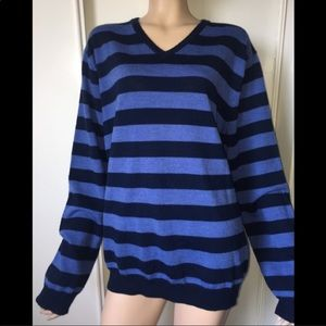 J Crew striped merino wool sweater blue XL